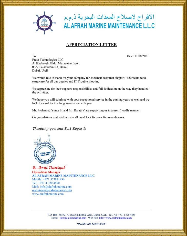 AL Afrah Marine Maintenance LLC