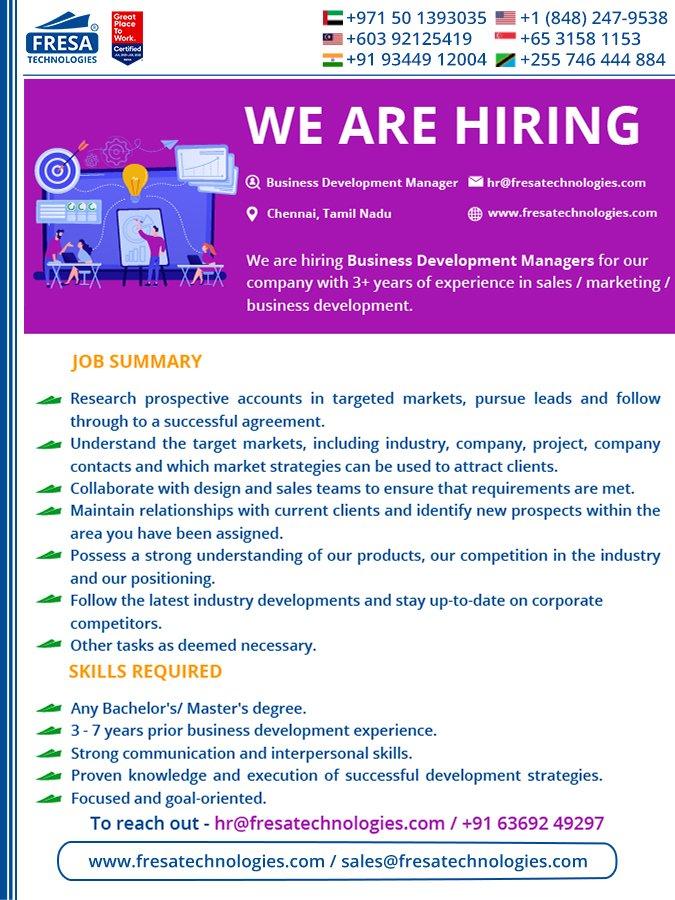 Hiring Business Development Manager